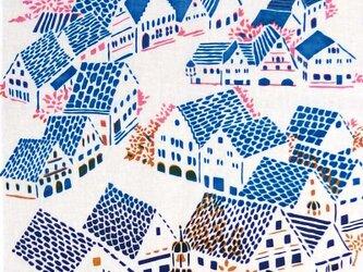 型染めてぬぐい「城塞の街 ‐春の風-」(綿100%・手染め捺染)の画像