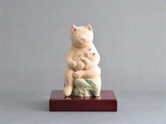木彫り 猫鬼子母神 猫仏1909の画像