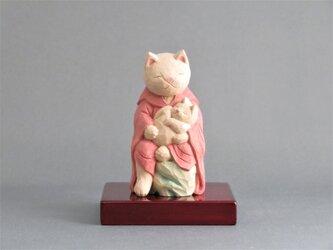 木彫り 猫鬼子母神 猫仏1910の画像