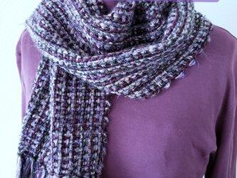 男女兼用♪紫モヘアの混ぜ糸マフラーの画像