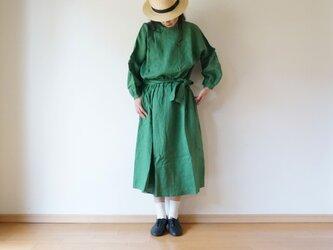 Linen waist gather one piece GREENの画像