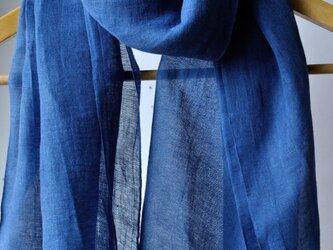 藍染 綿麻ストール(ワイド巾70cm)の画像