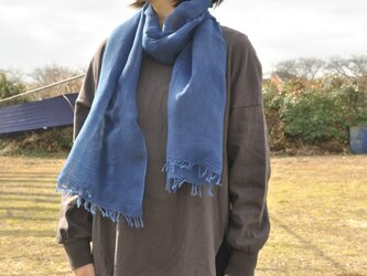 藍染 綿麻ストール(200×64cm)/濃・淡の画像