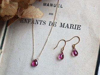 【K18】宝石質ピンクトルマリンの一粒ピアスの画像