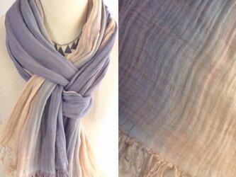 知多木綿 草木染め 藤色のグラデーション 二重ガーゼ大判ストールの画像