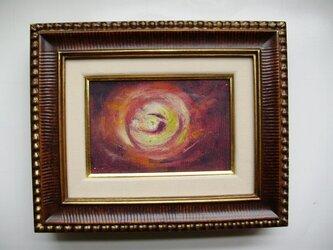 ミニチュアール額絵 油絵の具とクレパスのコラボ画 星雲の画像