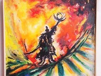 絵画インテリアキャンバス画 一点もの 油絵 私の住む星 メッセージの画像