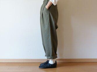 Cotton antique tuck pants KHAKIの画像