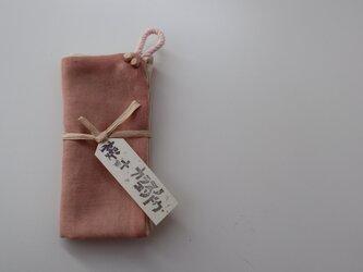 手ふきん(桜+カラスノエンドウ)の画像
