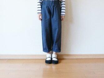 Cotton antique tuck pants NAVY kids 1(80cm~),2(100cm~)sizeの画像
