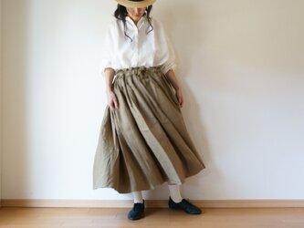 Linen waist gather skirt KHAKIの画像