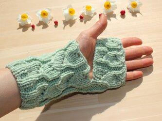 手編み レッグウォーマー アームウォーマー 冷え取り 草木染(ヨモギ&桑の葉) ウール100% の画像