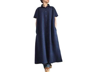 ジョムトン手織り綿半袖ドレスコート インディゴ紺(JFS-156-03)の画像