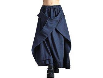 ジョムトン手織り綿の袋状スカート インディゴ紺(SFS-019-03)の画像