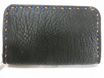 ミニラウンドファスナー財布(ブラック ステッチはブルー&オレンジ)の画像