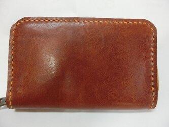 ミニラウンドファスナー財布(ブラウン ステッチはオレンジ&ベージュ)の画像
