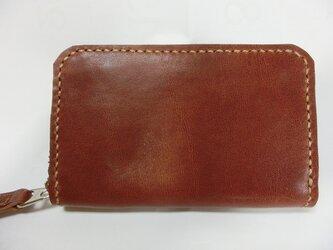 ミニラウンドファスナー財布(ブラウン ステッチはベージュ)の画像