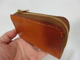 栃木レザー ワイドファスナー ミニL字ファスナー財布(キャメル ステッチ ベージュ)の画像