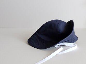 テントな帽子 - 上質コットン・ダークネイビーにホワイトリボン -  <受注制作>の画像