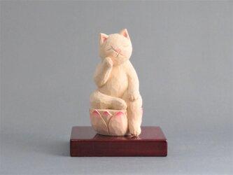 木彫り 弥勒猫 猫仏1912の画像