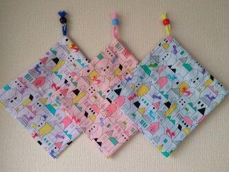 片紐コップ袋2枚『猫のお散歩』の画像