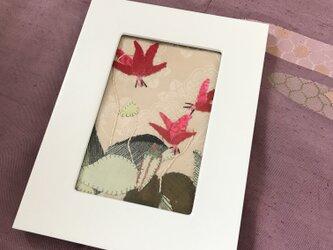 ヴィンテージ着物の布絵  カタクリの花の画像