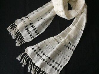 エジプト綿オフホワイトの手織りストールの画像