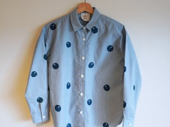 ギンガムチェックシャツ・水色・ドット椿の画像