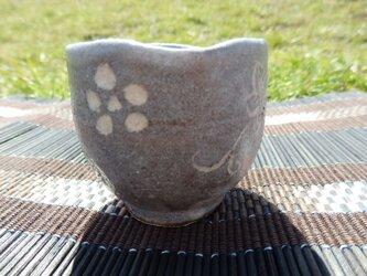 陶器 志野焼 ぐい飲み 花柄の画像