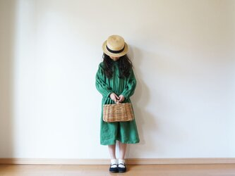 Linen waist gather one piece GREEN kids 3(120cm~),4(140cm~)sizeの画像