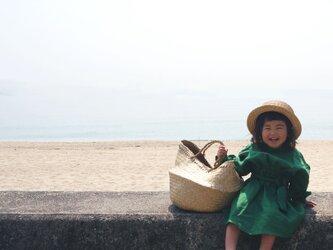 Linen waist gather one piece GREEN kids 1(80cm~),2(100cm~)sizeの画像