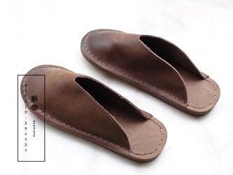 【受注製作】すぽっとはまる ぺたぺたの牛革縫製サンダル 茶褐色 SHSC-1の画像