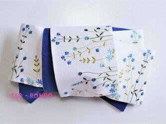 海外コットン・リネン 「風に揺れる花畑(青) 刺繍」★半幅帯4m リバーシブルの画像