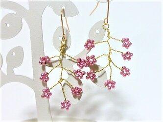 フラワーピンク小枝ニッケルフリーピアスの画像