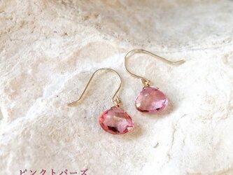 K18 高品質 ピンクトパーズ マロンカットピアス 天然石 透き通るピンク色の画像