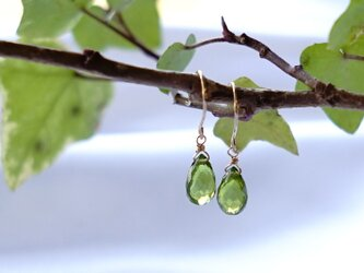 K18 高品質 ペリドット ペアシェイブ フックピアス 天然石 美しいグリーン色の画像