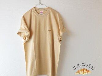 【ミルクティー】カラーTシャツ;クロワッサン刺繍付きの画像