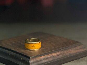 レザー真鍮リング  黄 (太)  [ネーム 名入れ刻印 無料]の画像