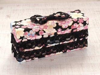 リボンのクラッチボックス(黒)の画像