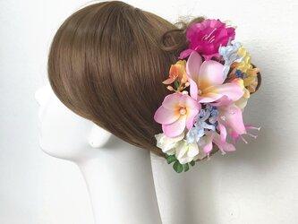 ピンクのプルメリアとミレアザレアのヘッドドレス(11本セット) 結婚式 ウェディング 海外挙式 フラダンスの画像