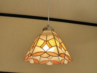 特大・サーモンピンク・オレンジ(ステンドグラスペンダントライト)吊り下げ照明・ガラス  LLサイズ・(コード長さ調節可)27の画像