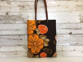 トートバッグA4手提げ  ヴィンテージオレンジ花の画像