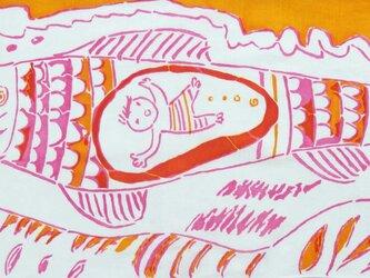 型染めてぬぐい「さかなのきもち」(PinkOrange)(綿100%・手染め捺染)の画像