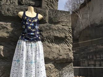 【受注製作】アイヌ チヂリ柄 ダブルガーゼ ギャザースカート ホワイト オリジナルテキスタイルの画像