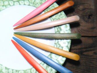 色拭き漆菓子切り 七色の画像