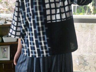 久留米絣と古布からスタンドカラーのトップスの画像