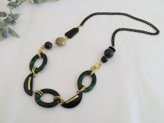 イタリアンビーズのモードな大ぶりネックレス インポート グリーン・ネイビー・ブラックの画像
