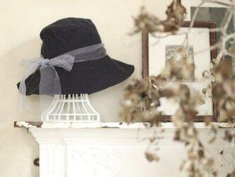 【受注製作】ナチュラルベーシック リネンとチュールの帽子    60〜65cm  サイズ調整可能の画像