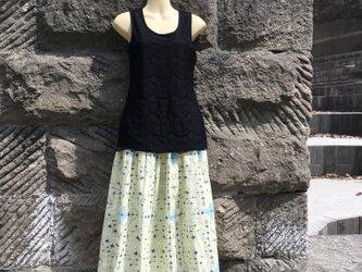 【受注製作】アイヌ チヂリ柄 ダブルガーゼ ギャザースカート ライトイエロー オリジナルテキスタイルの画像