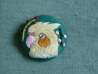 刺繍 オカメインコ ブローチ 鳥の画像